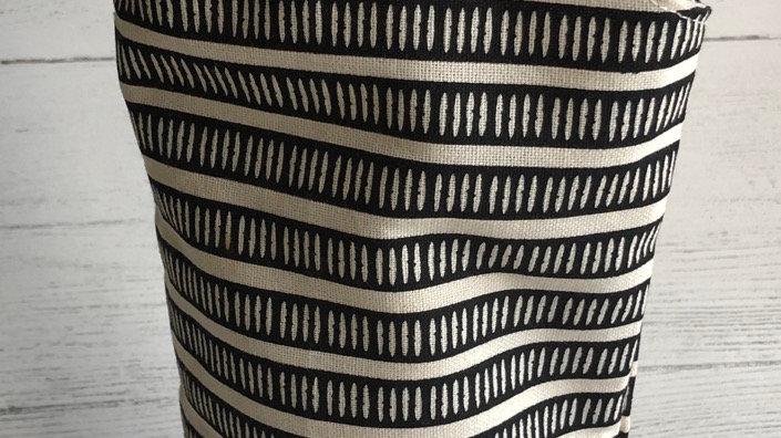 Fall Bottle Bag in Black & Antique White Stripe Print