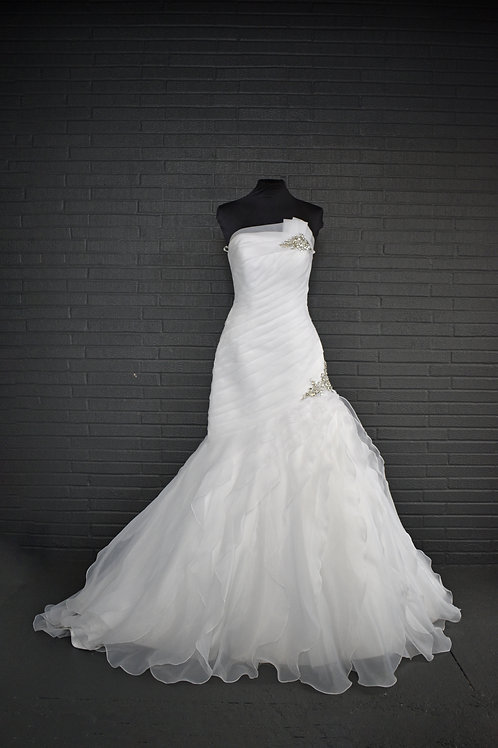 White Chiffon Wedding Gown - Size 6