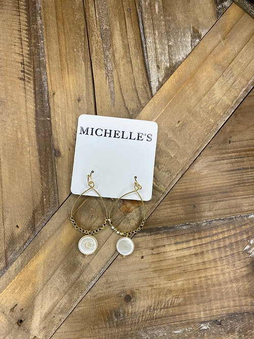 Gold & Pearl Dangle Earrings
