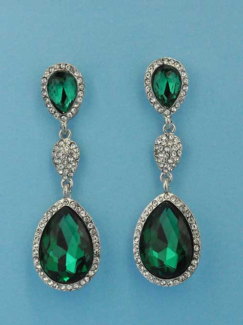 """Emerald/Clear Silver Three Linked Stone 3"""" Post Earring"""