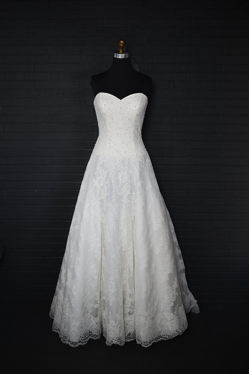 Strapless Lace Wedding Gown - Size 8