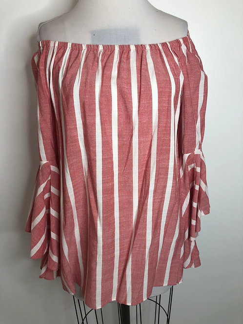 Red and White Stripe Top Medium