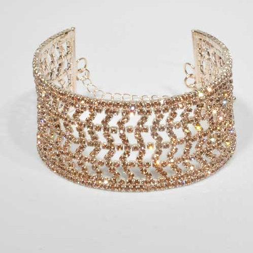 Light Peach/Rose Gold Small Round Stone Thick Bracelet