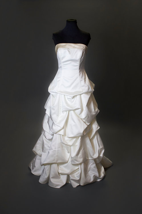Ivory Satin Wedding Gown - Size 10