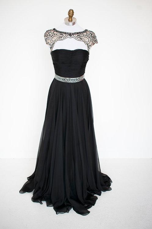 Sherri Hill Black Chiffon - Size 2