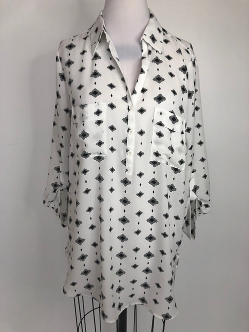 Gray Print Shirt Large