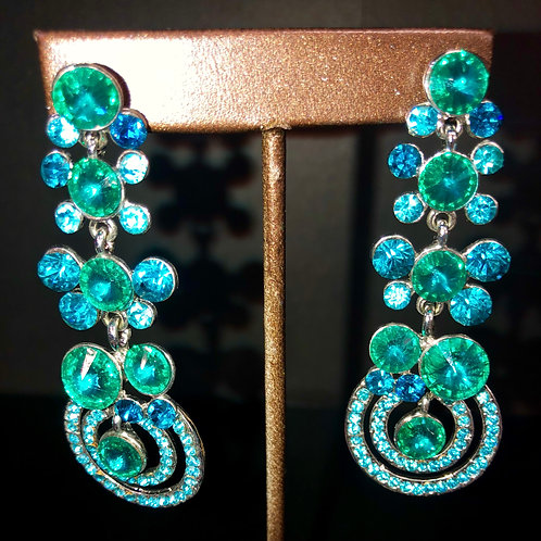 Long Earrings - Teal and Green Stones