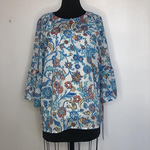 NEW! Blue Floral Print Blouse Medium