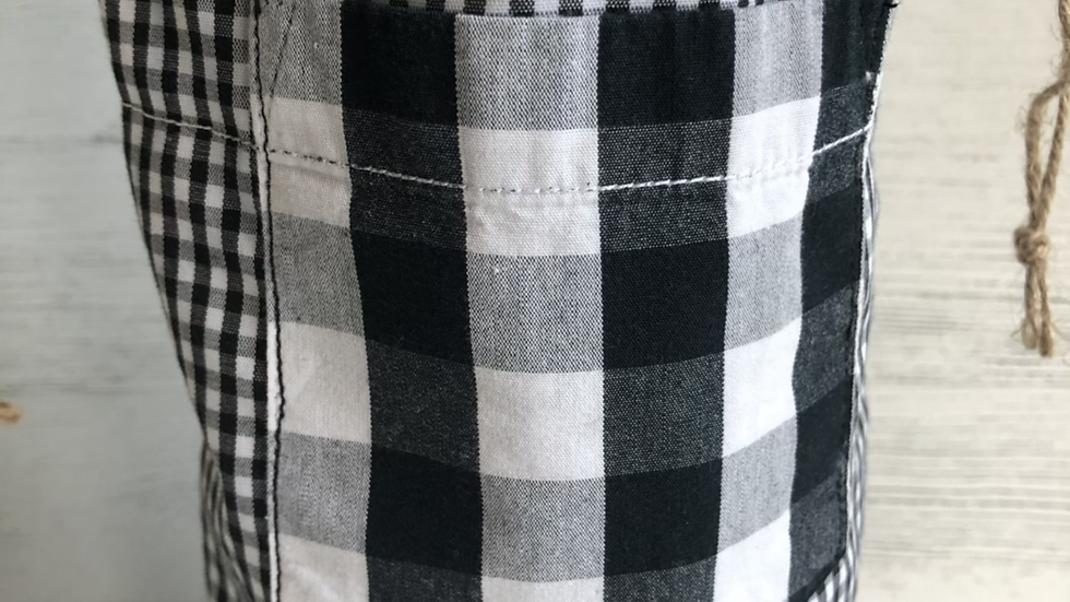 Fall Bottle Bag in Black & Buffalo Check Fabric