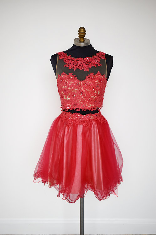 Coral Tulle Two Piece Short - Size 2