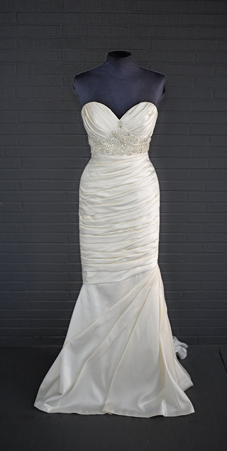 Casablanca Ivory Satin Wedding Gown - Size 2