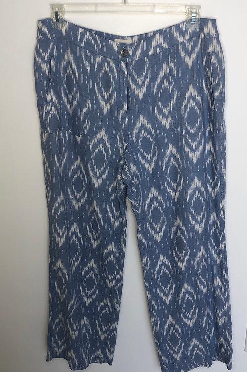 Chico's Linen Blue & White Pants Size 2