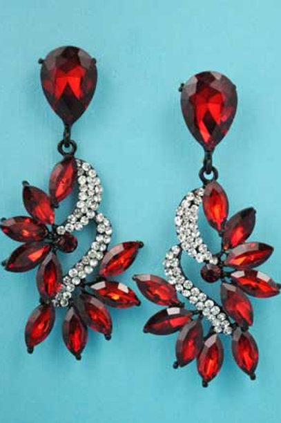 """Dark Red/Clear Black Marquise/Round Pear Stone 2.5"""" Post Earring"""