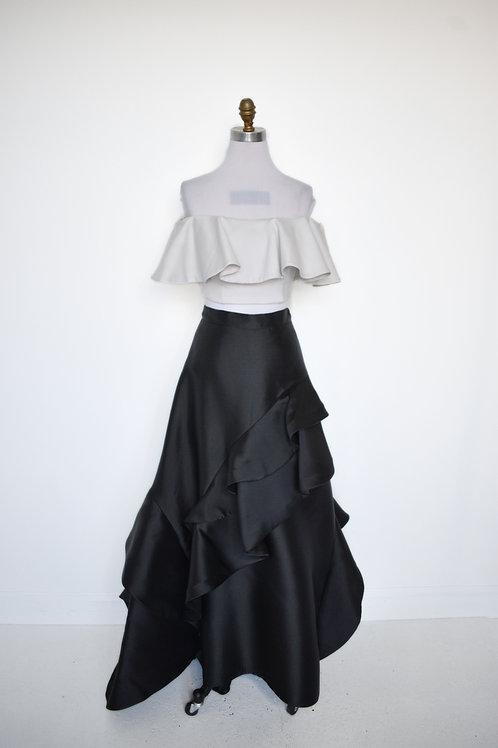 Jovani Black/White Ruffle - Size 6