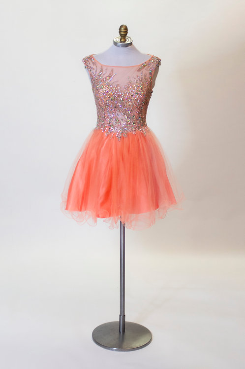 Partytime Coral Tulle Short - Size 2