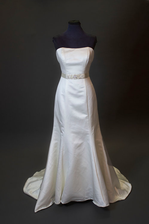 Ivory Satin Wedding Gown - Size 8