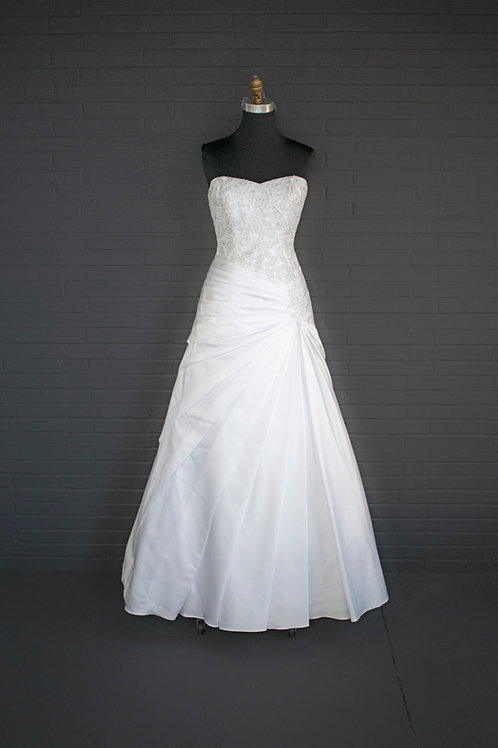 White Satin Wedding Gown - Size 8