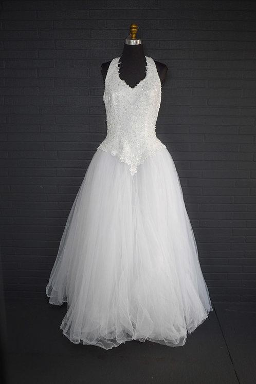 Oleg Cassini White Tulle Wedding Gown - Size 12
