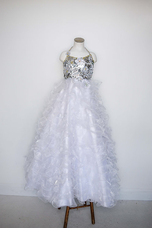 Mac Duggal White Little Girls Pageant - Size 6