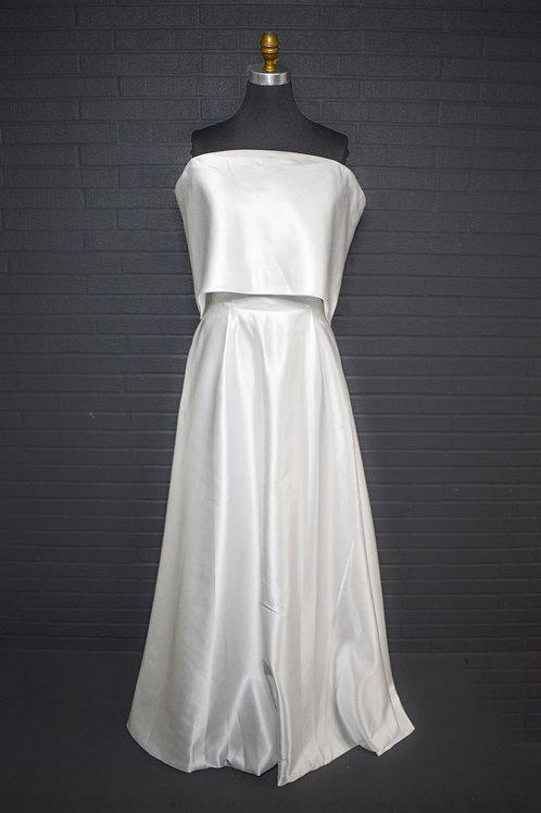 White Satin Wedding Gown - Size 12