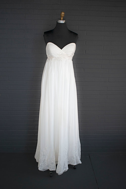 Ivory Chiffon Wedding Gown - Size 6