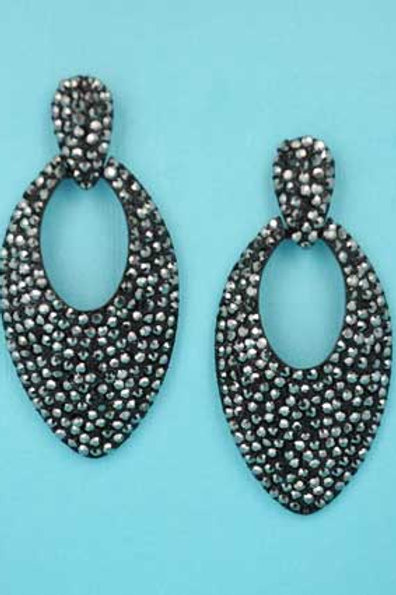 "Clear/Black Multi Round Stone Pear Shape 3"" Post Earring"