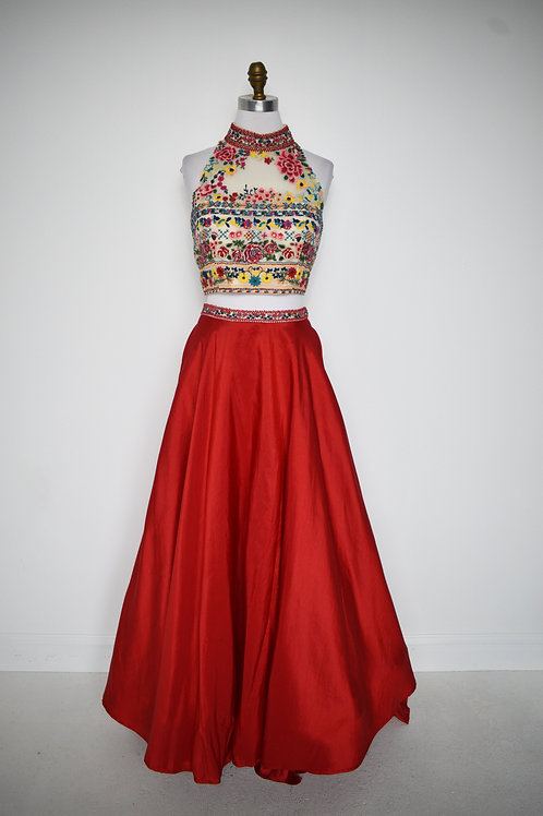 Sherri Hill Red Floral Two Piece- Size 12