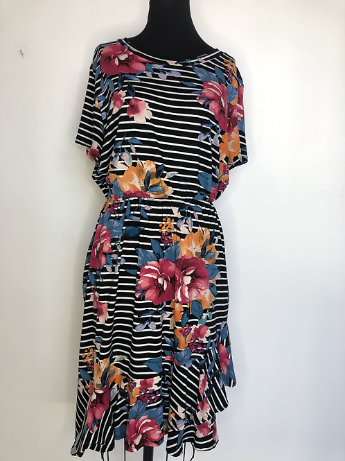 Black and White Striped Floral Dress Size 16