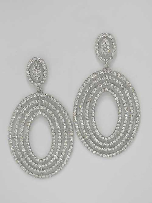 """Clear/Silver Small/Big Oval Shape Post 1.5"""" Earring"""