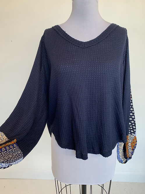 Navy Waffle Knit Top - Small
