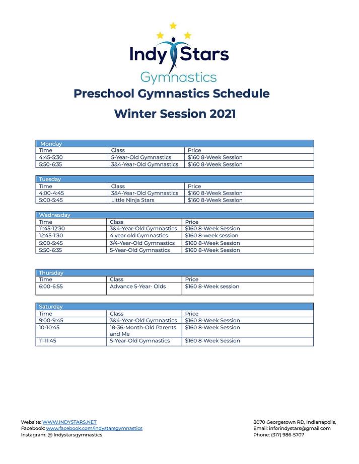 Preschool Gymnastics Schedule Winter 21.