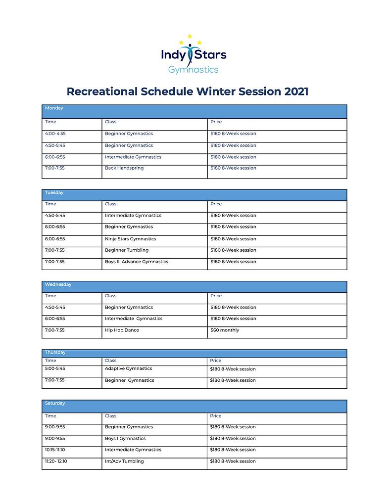 Recreational Class Schedule.Winter 21.pn