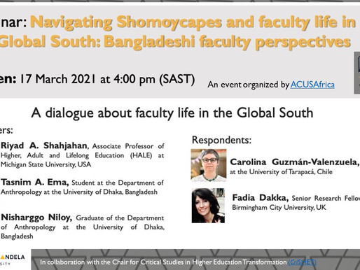 NEWS: Invitation to our first webinar - a dialogue about academics life in the Global South