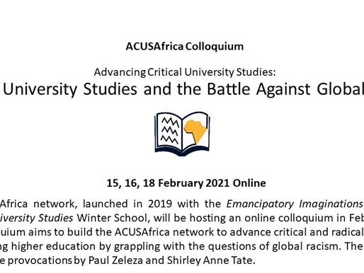 NEWS: Invitation to 'Critical University Studies and the Battle Against Global Racism'