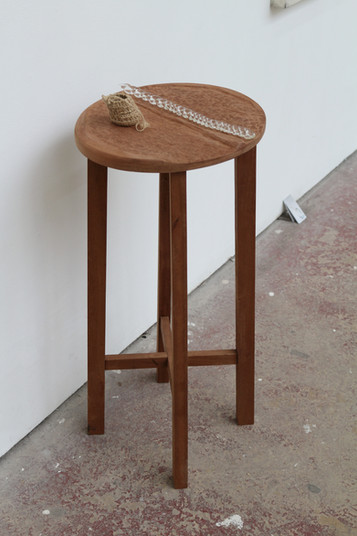 Hand-built stool with carved seat detail, Hand woven basket, Glass plait