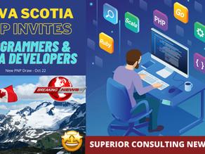 Nova Scotia New PNP Draw - 20 Oct - Invites Programmers & Media Developers