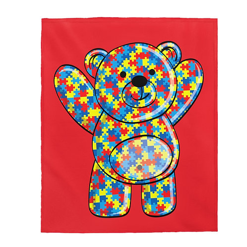Autism Teddy Bear Velveteen Plush Blanket