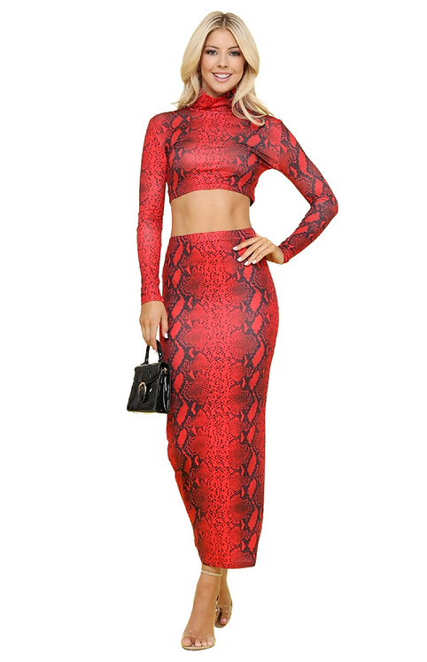 Too Hot To Handle Red Two Piece Matching Snake Set