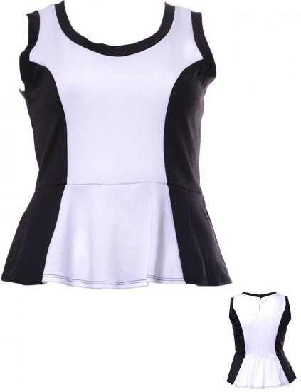Lot Of Attitude Peplum  Black and White Top