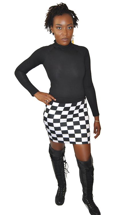 Who Going To Check Me - Checker Print Skirt