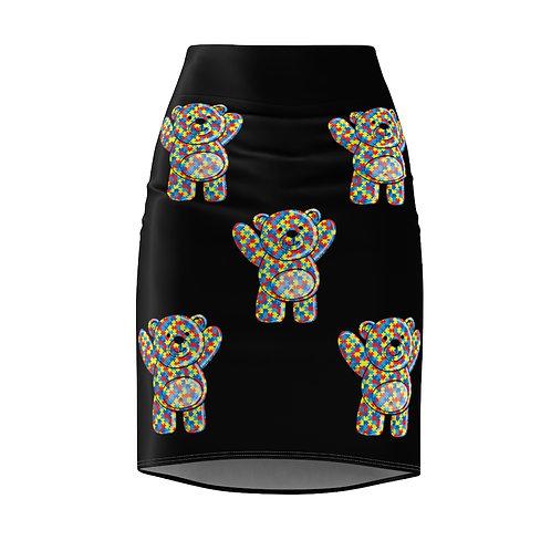 Women's Pencil   Autism Teddy Bear Skirt