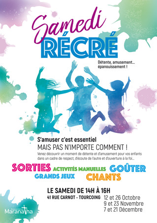 """Les RDV """"Samedi Récré"""" reprennent, annonçons la nouvelle aux jeunes autour de nous !"""