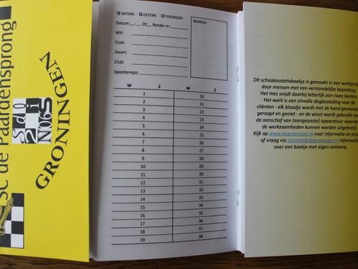 Nieuwe notatieboekjes in gebruik.