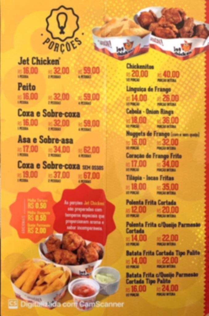 cardapio jet chicken porções