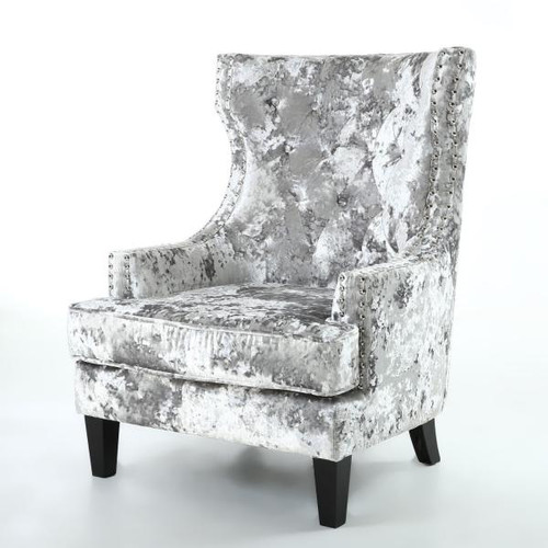 Wingback Accent Crushed Velvet Armchair Silver Or Black