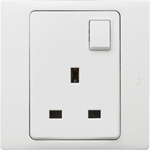 Socket Outlet 13A 250V (1-Gang/Single pole/Switched/White)