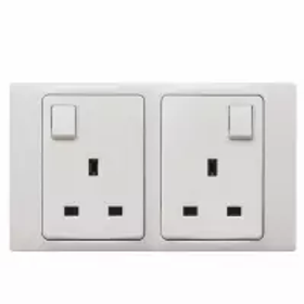 Socket Outlet 13A 250V (2-Gang/Single pole/Switched/White)