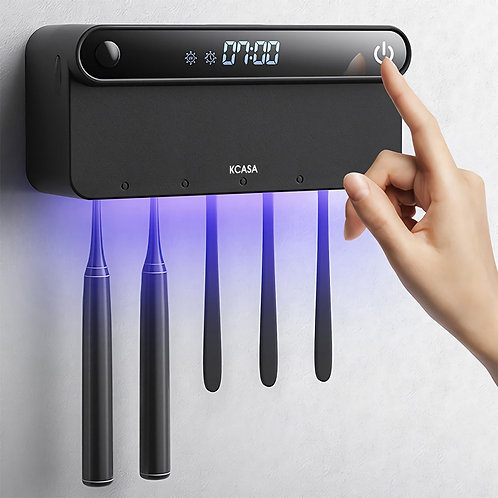 Wall Mounted Toothbrush Holder with UV Disinfection and LED Display.