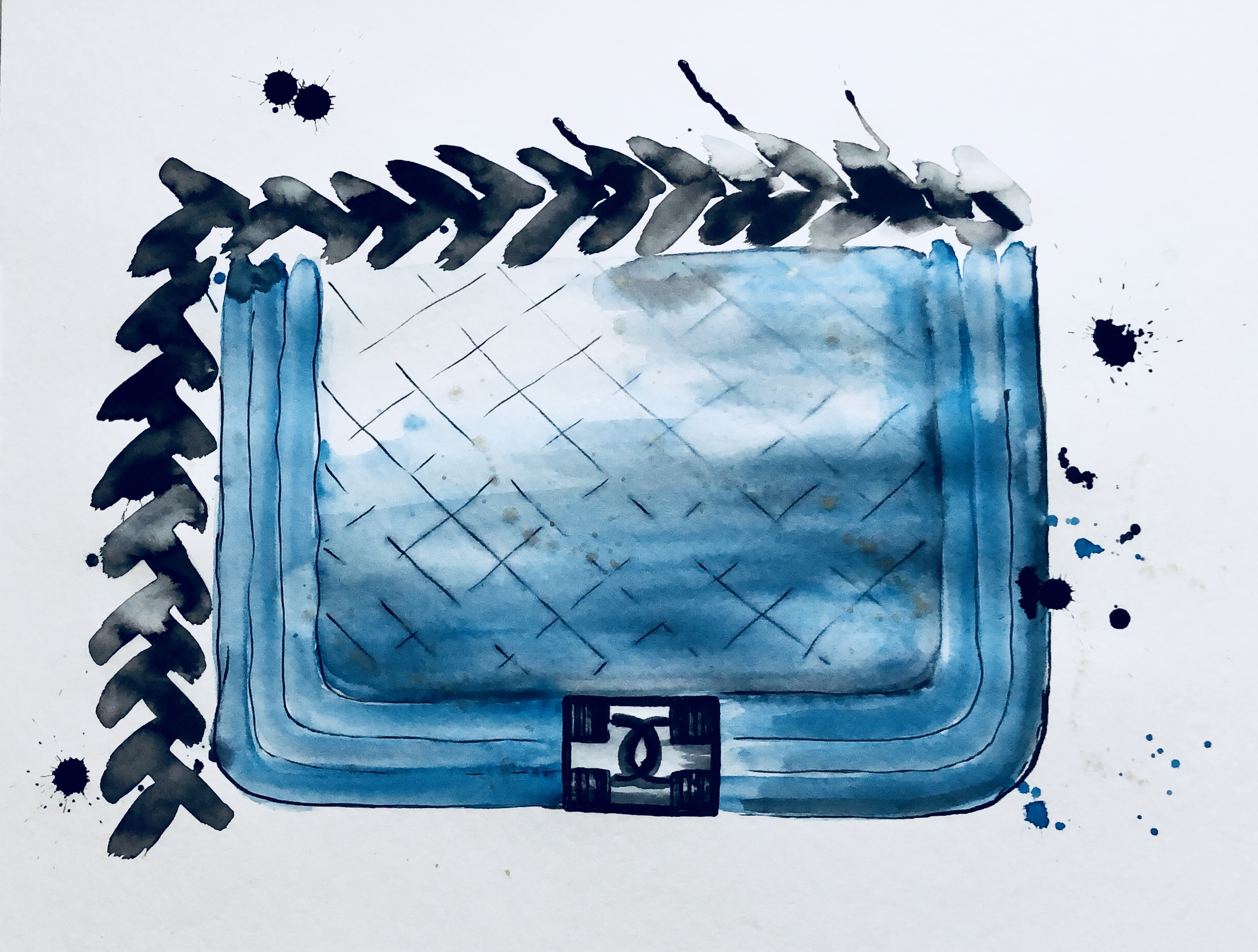 Chanel boy bag aquarelle on paper