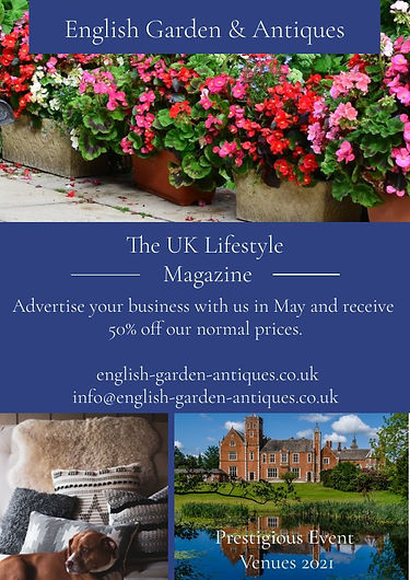 Advertise of English Garden & Antiques. Event advertising